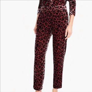 J.Crew Tall Easy Pant in Rose Leopard Velvet